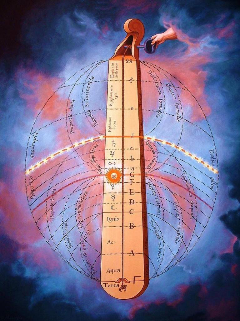 Esta pintura representa el Monocordio que fué utilizado por Pitágoras cerca del año 550 A.C. Significa literalmente una secuencia; es decir que una sola cuerda se estira sobre una caja de sonidos. En el siglo XVI, Robert Fludd, ideó un Monocordio que llamó Celestial o Divino, donde representó el Universo de Claudio Tolomeo, adaptado a los intervalos musicales. Se utiliza para ilustrar las características matemáticas del tono musical.