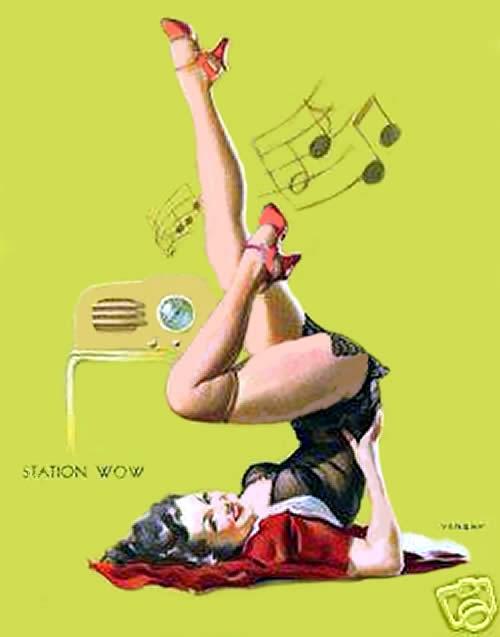 Afiche de la marca de radios CATALIN usando una imagen de una PinUp, creadas por el POP ART  y popularizadas por la revista PlayBoy