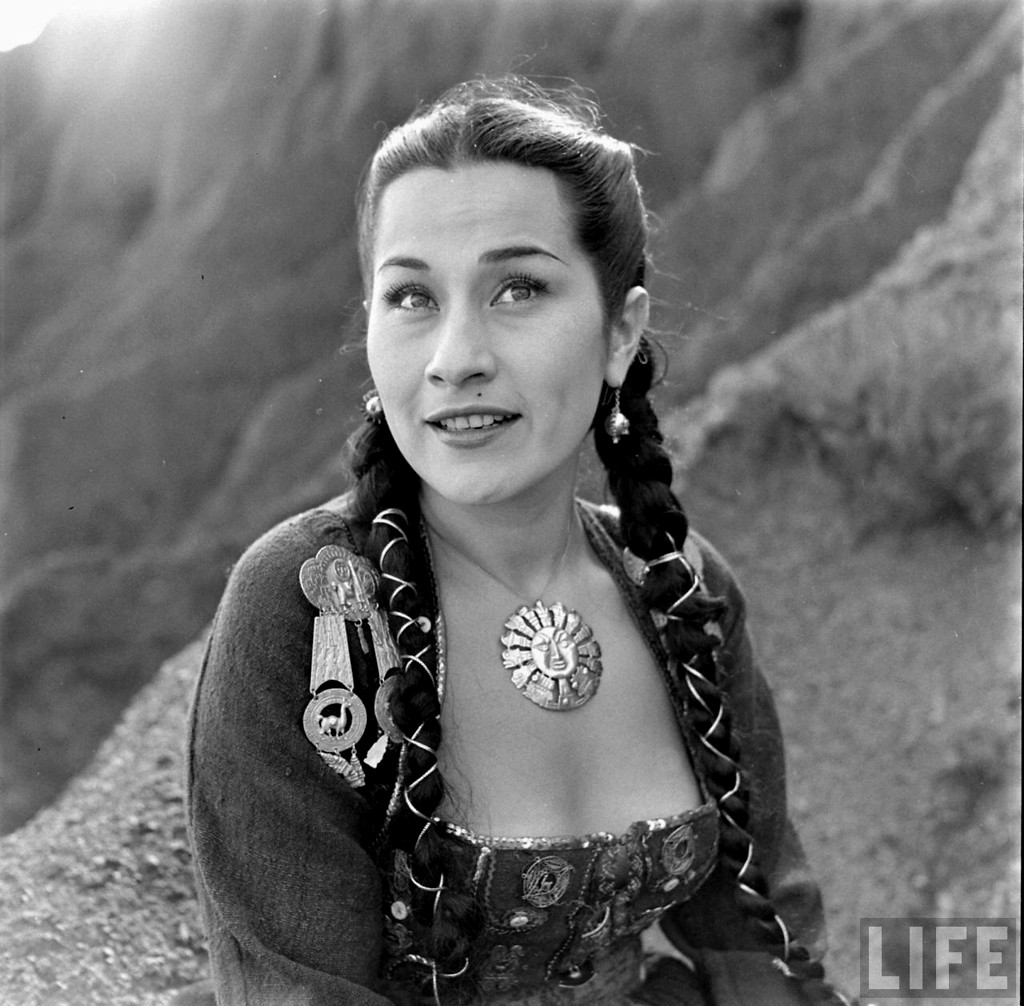 Peruvian singer Yma Sumac, wearing native dress. Location:Hollywood, CA, US Date taken:August 1950 Photographer:Peter Stackpole