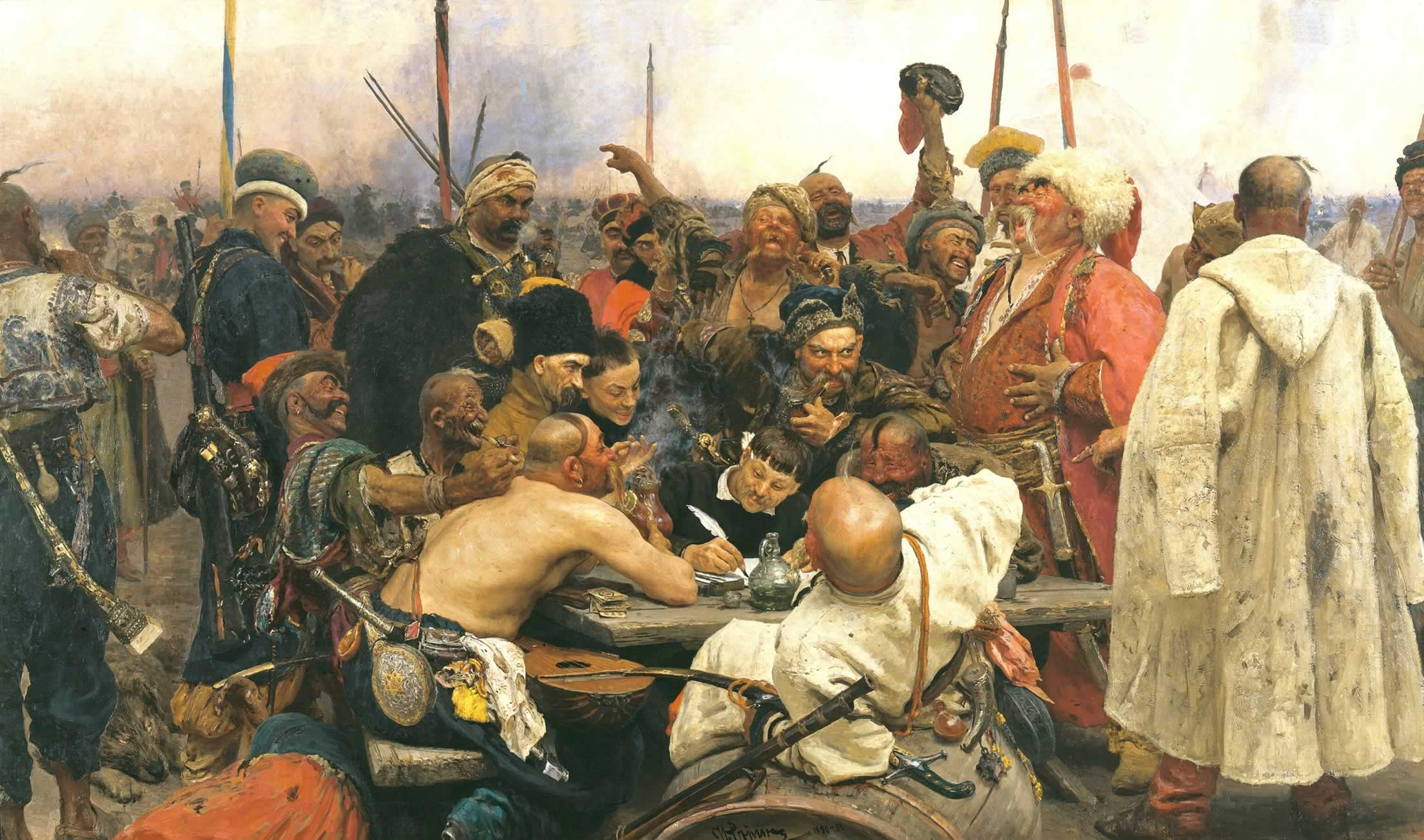 ilya_repin-los_cosacos_zaporogos_responden_al_sultan_mehmet_iv-1880