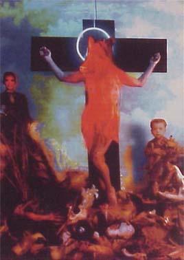 <b>T&iacute;tulo:</b> La crucufixión del cochino levitando &nbsp;&nbsp;&nbsp; <b>Autor:</b> Nelson Garrido &nbsp;&nbsp;&nbsp; <b>Dimensiones:</b>   &nbsp;&nbsp;&nbsp; <b>A&ntilde;o:</b> 1993