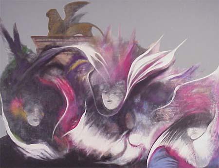 <b>T&iacute;tulo:</b> Tiempo, Dirección y Movimiento &nbsp;&nbsp;&nbsp; <b>Autor:</b> Ernesto León &nbsp;&nbsp;&nbsp; <b>Dimensiones:</b> (159 x 70.5) cm &nbsp;&nbsp;&nbsp; <b>A&ntilde;o:</b> 1990