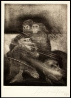 Inmigrantes. 1973. Mezzotinta y punta seca (9/10). 14,9 x 11,6 cm. FMN.